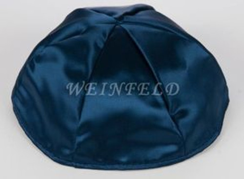 Satin Yarmulkes 6 Panels - Lined - Single Color - Navy. Best Quality Bridal Satin
