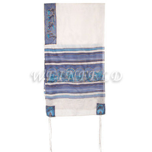 Hand-Painted Silk Tallit - The Twelve Tribes White And Blue