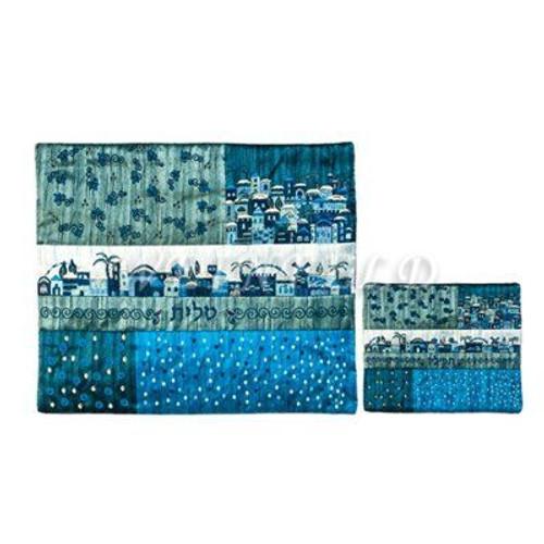 Embroidered Tallit and Tefillin Bag - Jerusalem Quilt in Mediter