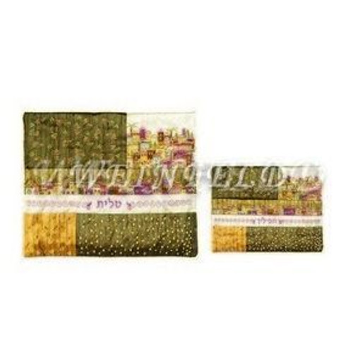 Embroidered Tallit and Tefillin Bag - Jerusalem Quilt in Wheat