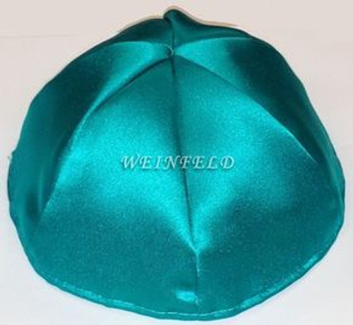 Satin Yarmulkes 6 Panels - Lined - Single Color - Teal Green. Best Quality Bridal Satin