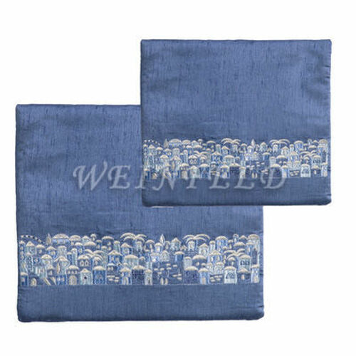 Embroidered Tallit and Tefillin Bag - Jerusalem Blue light