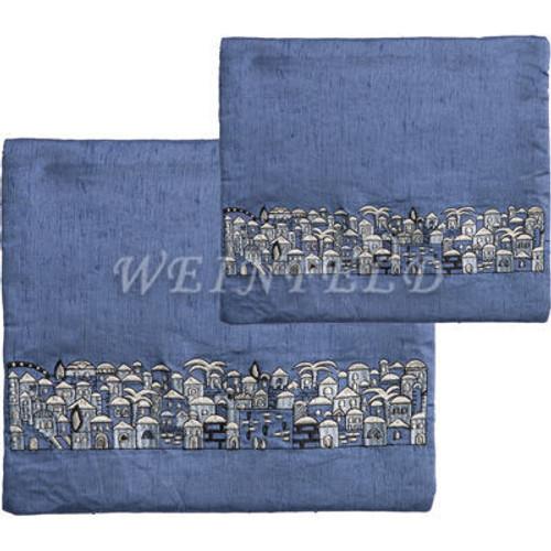 Embroidered Tallit and Tefillin Bag - Jerusalem Blue