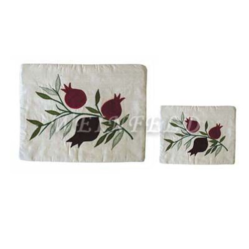 Raw Silk Tallit and Tefillin Bag - Pomegranates in White