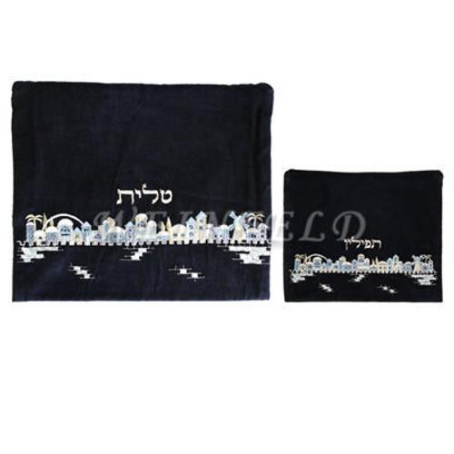 Velvet Embroidered Tallit and Tefillin Bag Set - Jerusalem in Black - TV-FV-2