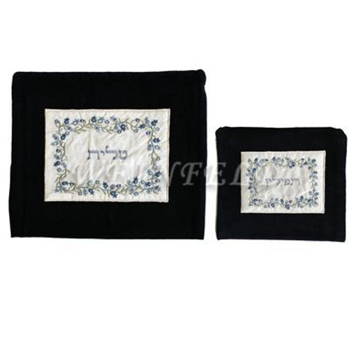 Velvet Embroidered Tallit and Tefillin Bag Set - Pomegranates in Black - TBV-TFV-3