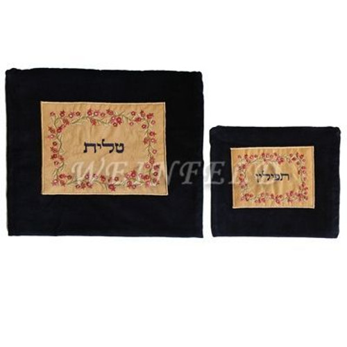 Velvet Embroidered Tallit and Tefillin Bag Set - Pomegranates in Black - TBV-TFV-4