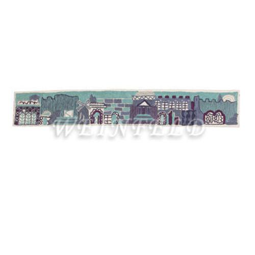 Hand Embroidered Atara (Yoke) - Jerusalem Blue