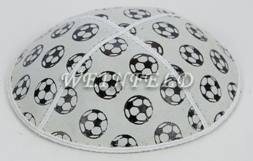 Black Soccer Ball Yarmulke - White Genuine Suede
