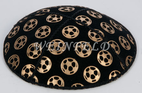 Gold Soccer Ball Yarmulke - Genuine Suede
