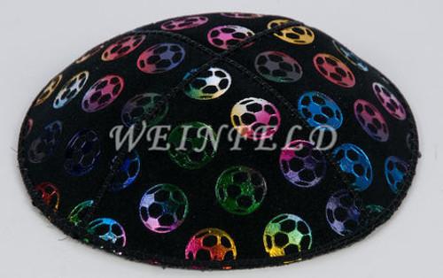 Colored Soccer Ball Yarmulke - Genuine Suede