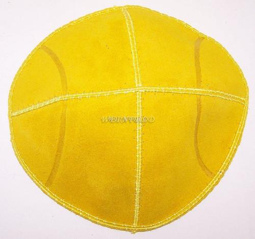 Yellow Tennis Ball Yarmulke - Genuine Suede