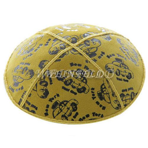 Taxi - Yellow Genuine Yarmulke - Suede filled in black