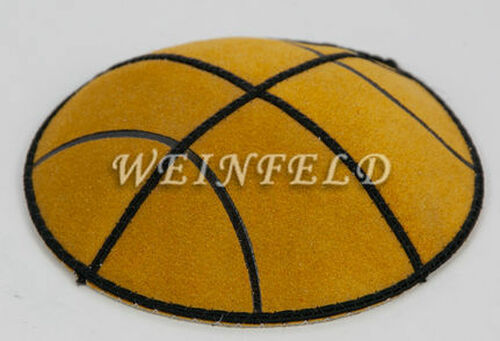 BasketBall Gold Yarmulke - Genuine Suede