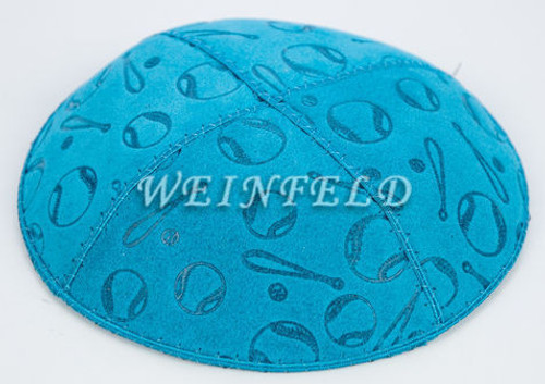Bat and Ball in Plain Yarmulke - Genuine Suede