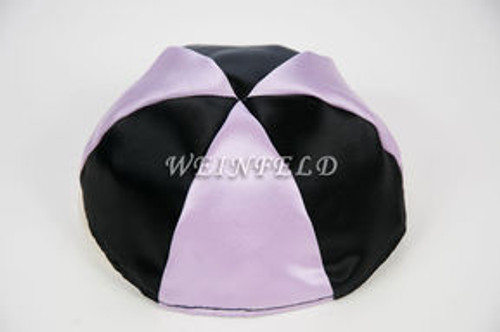 Satin Yarmulkes 6 Panels - Lined - 2 Color Alternate Panels - Black & Lavender. Best Quality Bridal Satin