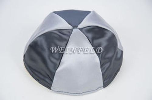 Satin Yarmulkes 6 Panels - Lined - 2 Color Alternate Panels - Dark Grey & Silver. Best Quality Bridal Satin