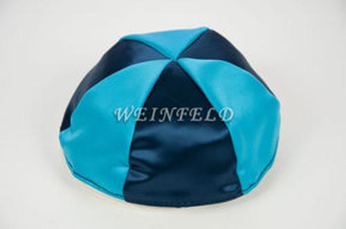 Satin Yarmulkes 6 Panels - Lined - 2 Color Alternate Panels - Navy & Wedgewood Blue. Best Quality Bridal Satin