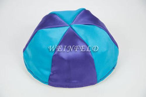 Satin Yarmulkes 6 Panels - Lined - 2 Color Alternate Panels - Purple & Turquise Blue. Best Quality Bridal Satin