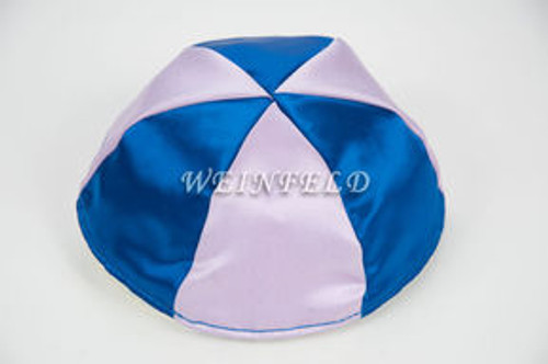Satin Yarmulkes 6 Panels - Lined - 2 Color Alternate Panels - Royal Blue & Lavender. Best Quality Bridal Satin