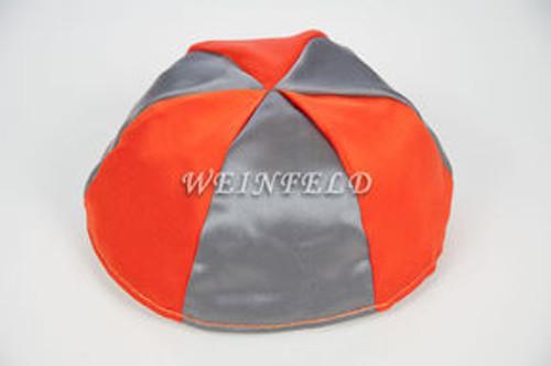 Satin Yarmulkes 6 Panels - Lined - 2 Color Alternate Panels - Silver & Orange. Best Quality Bridal Satin