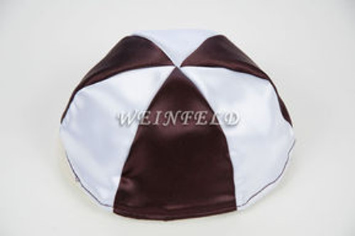 Satin Yarmulkes 6 Panels - Lined - 2 Color Alternate Panels - White & Chocolate Brown. Best Quality Bridal Satin