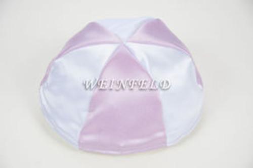 Satin Yarmulkes 6 Panels - Lined - 2 Color Alternate Panels - White & Lavender. Best Quality Bridal Satin