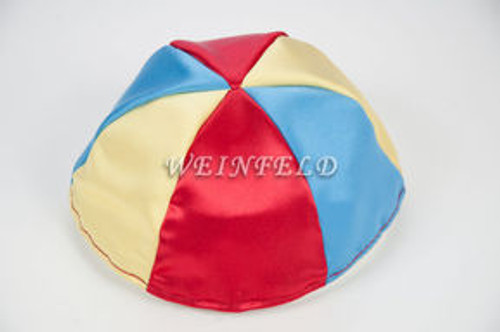 Satin Yarmulkes 6 Panels - Lined - 3 Color Alternate Panels - Wedgewood Blue, Red & Yellow. Best Quality Bridal Satin