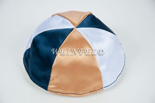 Satin Yarmulkes 6 Panels - Lined - 3 Color Alternate Panels - White, Gold & Navy. Best Quality Bridal Satin