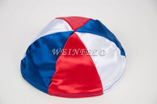 Satin Yarmulkes 6 Panels - Lined - 3 Color Alternate Panels - White, Red & Royal Blue. Best Quality Bridal Satin
