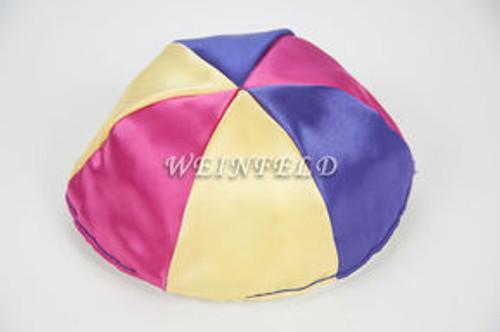 Satin Yarmulkes 6 Panels - Lined - 3 Color Alternate Panels - Yellow, Purple & Fuchsia Pink. Best Quality Bridal Satin