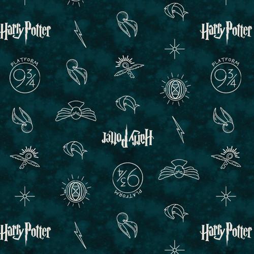 Harry Potter Yarmulkes Cotton - HP Symbols - Dark Teal