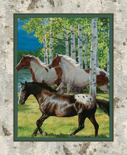 Wild Wings Yarmulkes Cotton - PANEL - Horses