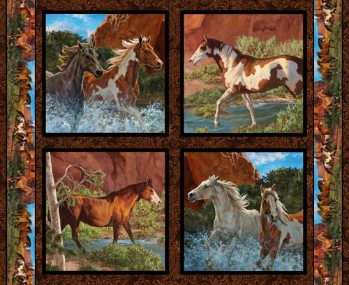 Wild Wings Yarmulkes Cotton - PILLOW - Horses