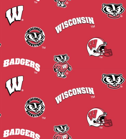 NCAA - Cotton Yarmulkes - ALLOVER - Wisconsin University