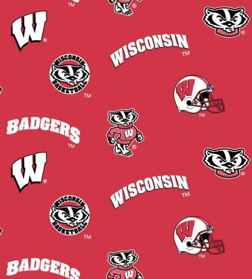 NCAA - Cotton Yarmulkes - ALLOVER - Wisconsin University