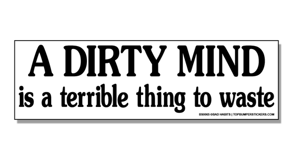 Bumper Sticker A Dirty Mind Is A Terrible Thing To Waste