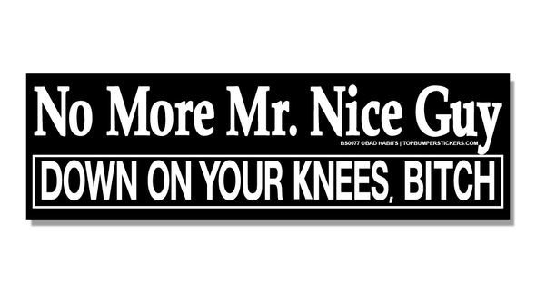 Bumper Sticker No More Mr. Nice Guy…Down On Your Knees, Bitch