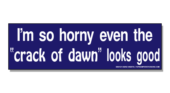 Bumper Sticker I'm So Horny Even The Crack Of Dawn Looks Good