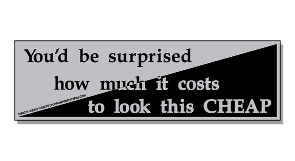 Bumper Sticker You'd Be Surprised At How Much It Costs To Look This Cheap
