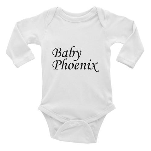 Baby Phoenix Black Logo Infant Long Sleeve Bodysuit