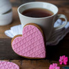 Iced Pink Gingerbread Heart