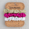 Gold, Pink and Tie Dye Skinny Scrunchies