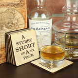 Stubby Short of  a 6 Pack Coasters