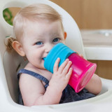 Snug Spout Universal Silicone Sippy Lids and Cup: Pink Multi Set