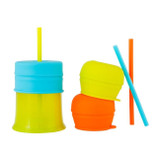 Snug Spout Universal Silicone Straw Lids and Cup: Blue Multi