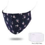 Washable Cotton Face Mask - Navy Ditsy Floral Print NZ