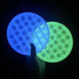 Glow in the Dark Transparent Circle Silicone Push Pop It Bubble Fidget Toy