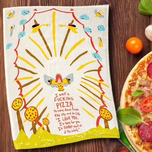 I Want a F*cking Pizza Dish Towel