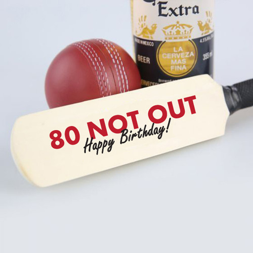 80 Not Out Mini Birthday Cricket Bat